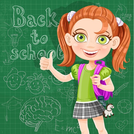 Back to school - cute girl at the blackboard Stock Vector - 21261632