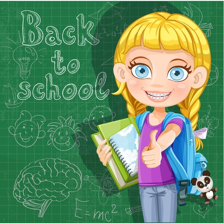 Back to school - cute girl with school books at the blackboard Stock Vector - 21261633