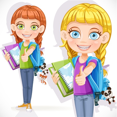 Cute girl student with a backpack and a textbook Vector