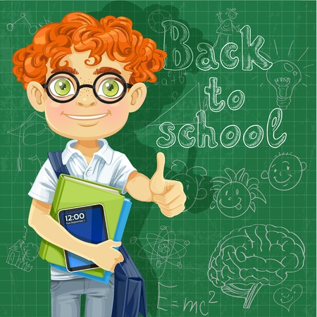 Cute boy in glasses near the blackboard Stock Vector - 21261705