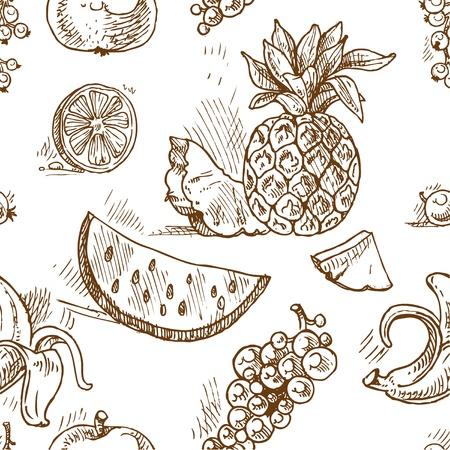 Naadloos patroon van tropische vruchten krabbels