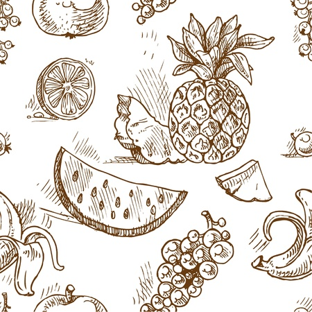vintage drawing: Seamless pattern of tropical fruit doodles
