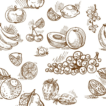greengrocery: Seamless pattern of summer fruit doodles