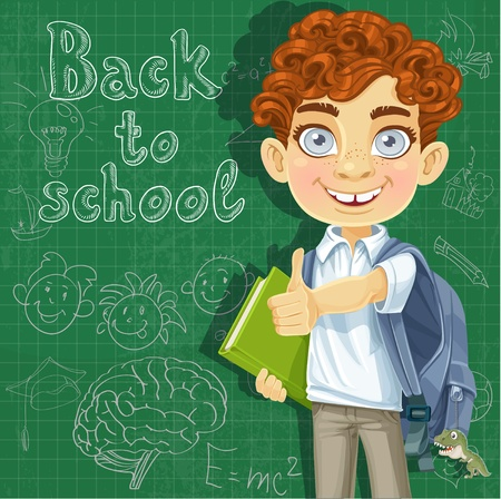 preparatory: Back to school - curly-haired boy with books at the blackboard