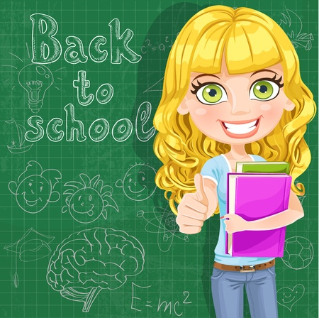 science is exciting: Back to school - Cute teen girl shows OK at the blackboard Illustration