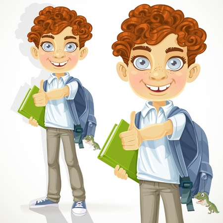 school backpack: Cute curly-haired boy with books and school backpack Illustration