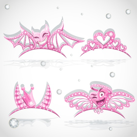 Pink tiaras set with hearts for carnival costume to the angel and the devil Vector