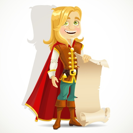 a charming: Cute blond prince with a scroll of parchment Illustration