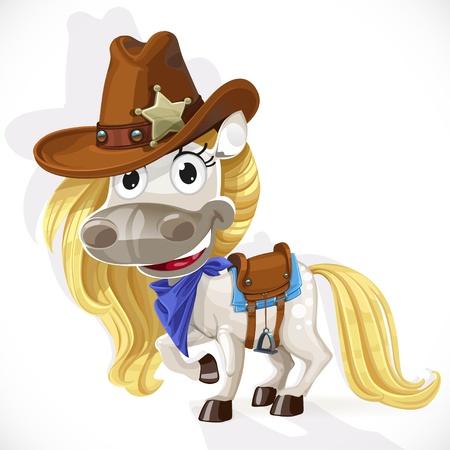 nostrils: Cute saddled white Horse in a cowboy hat Illustration