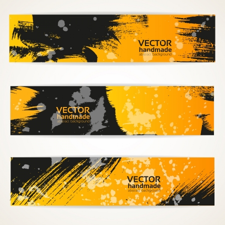 Abstracte zwarte en gele vector handdraw banner set Stock Illustratie