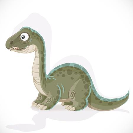 petrifying: Little Brontosaurus isolated on white background