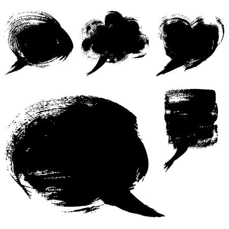 브러시와 페인트로 그린 연설 거품 모양 일러스트
