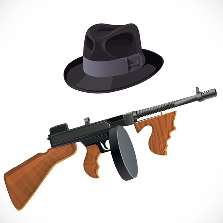 fedora hat: Fedora hat and a Thompson gun for a retro party isolated on white background