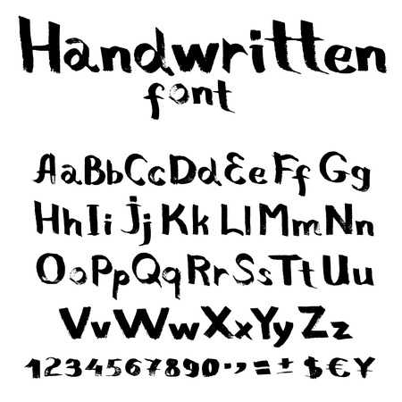 Handwritten font with a flat brush and ink Stock Vector - 22256207