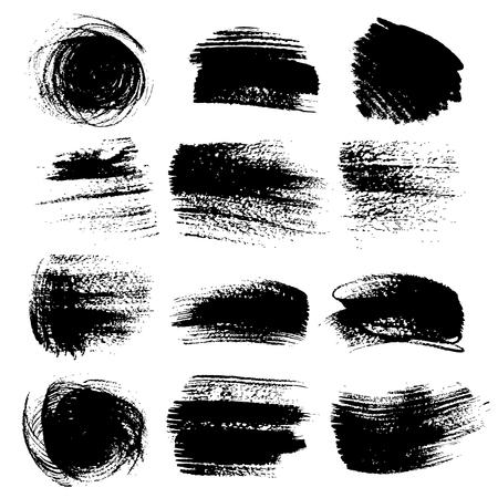 flat brush: Textured brush strokes drawn a flat brush and ink  set