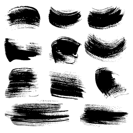 flat brush: Textured brush strokes drawn a flat brush and ink  set