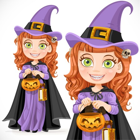 sorceress: Cute girl witch Trick or Treat Illustration