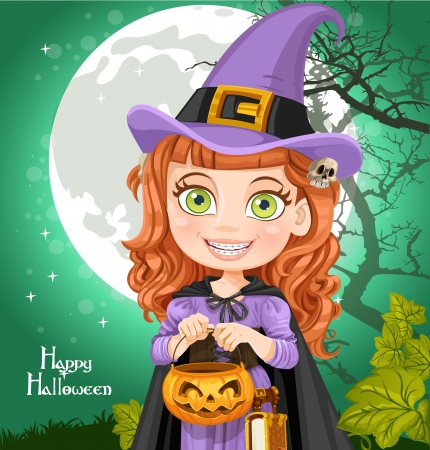 Young witch with a book Trick or Treat Ilustrace