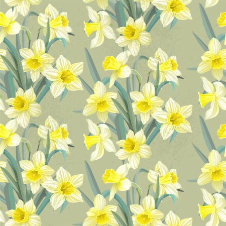 Seamless vintage pattern lush yellow daffodils Vector