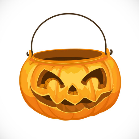 Pumpkin basket to collect candy on Halloween Vector