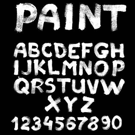 Hand-drawn font on textured paper with paint strokes on black background Vector