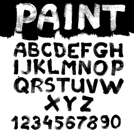 Hand-drawn font on textured paper with paint strokes