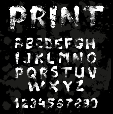alphabetical letters: Texture font written with paint and brushes on black background