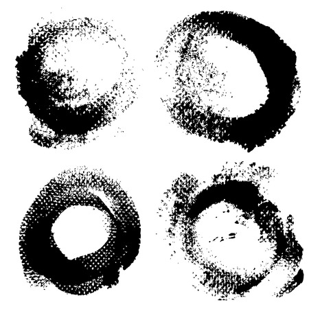 Round textured prints with paint on paper set 1 Stock Vector - 22256230