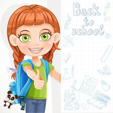 Cute little girl student with a big banner Stock Vector - 22256264