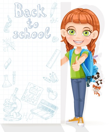 Cute girl student with a big banner for your text Vector