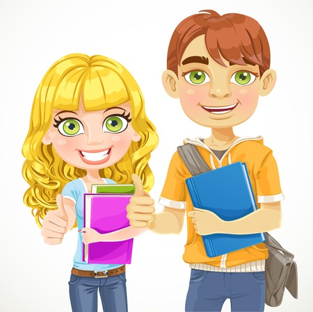 estudiantes de colegio: Ni�o lindo y chica adolescentes est�n listos para el nuevo a�o escolar Vectores