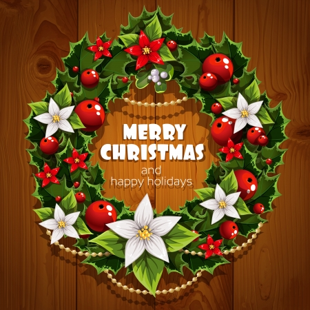 wish of happy holidays: Banner with Christmas wreath and wish happy holidays