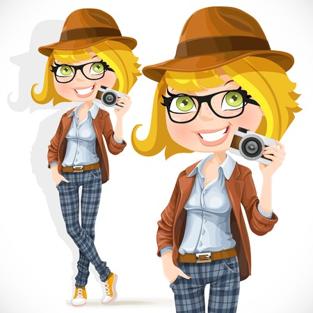 girl glasses: Hipster girl with a camera isolated on white background Illustration