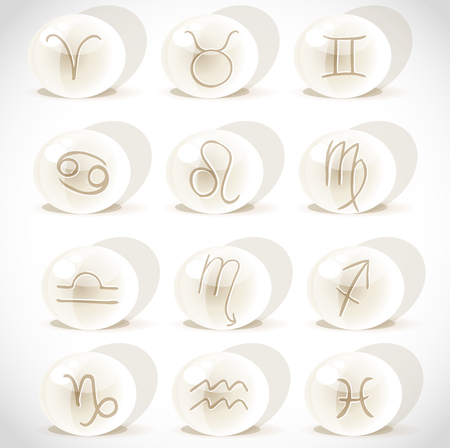 Symbols sign in spheres on the white background