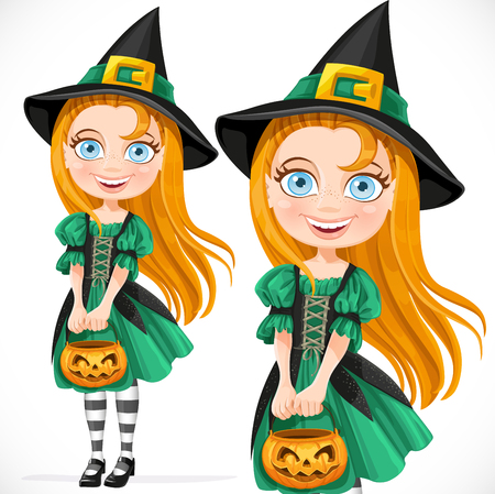 pretty little girl: Cute little girl dressed as a witch with pumpkin for candy Illustration