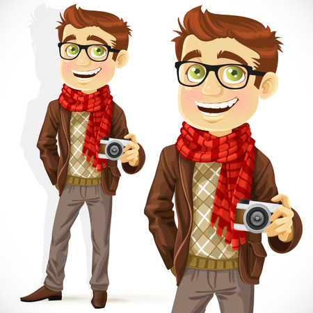 Hipster guy wearing a scarf and with a camera isolated on white background