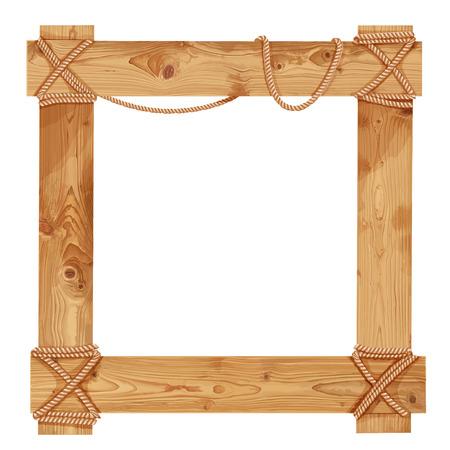 Wooden frame fastened together with ropes Illustration