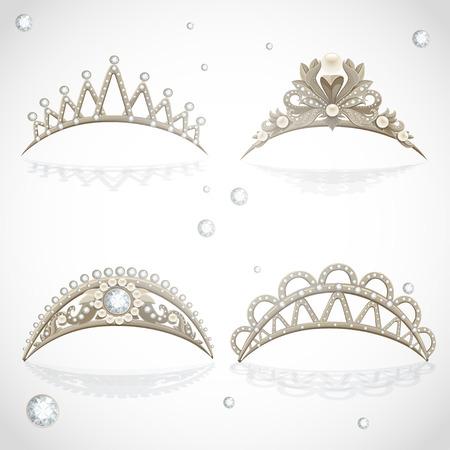 princesa: Luminoso tiaras de oro con diamantes y perlas