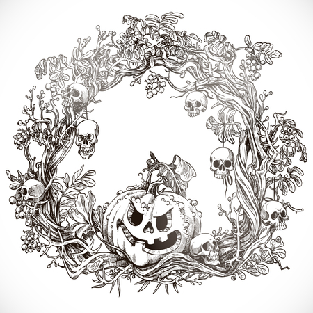 indulgence: Festive decorative Halloween wreath graphic drawing