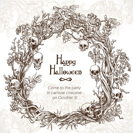 Halloween decorative wreath - frame for an invitation to a party Stock Vector - 22786877