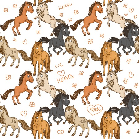 frolicking: Seamless pattern of cute horses frolicking in freedom