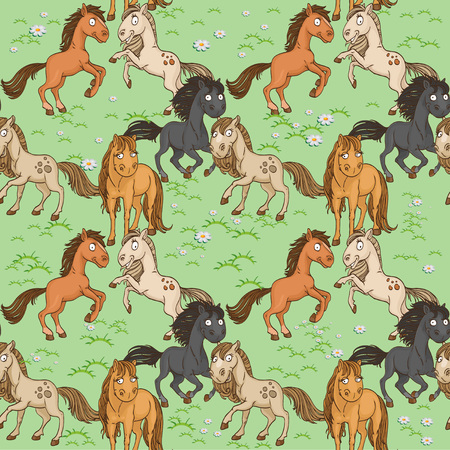 frolicking:  Seamless pattern of cute horses frolicking on a green lawn