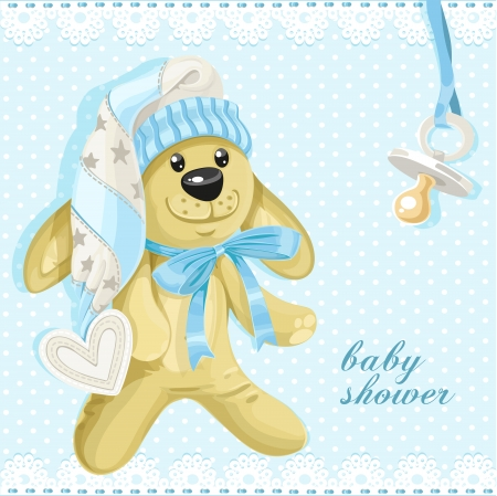 Baby shower card with blue soft rabbit and babys dummy Vector
