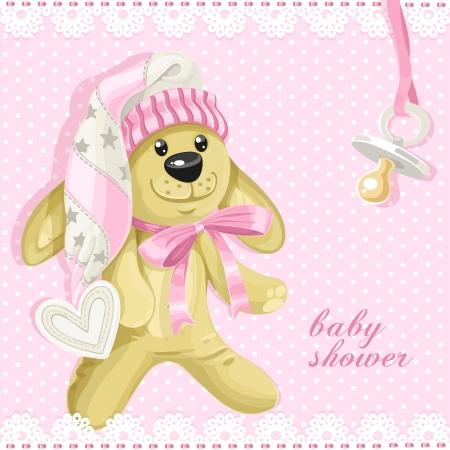 pl�schtier: Baby-Dusche-Karte mit rosa Stofftier Kaninchen und Schnuller