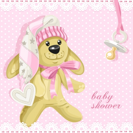 Baby shower card with pink soft toy rabbit and babys dummy Vector