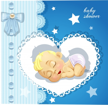 Blue baby shower card with cute baby Vector