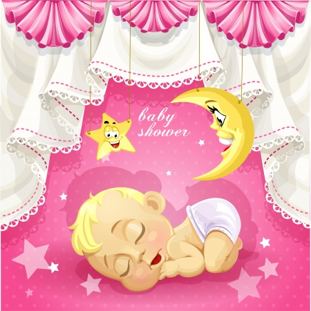 Pink baby shower card with sweet sleeping newborn baby Иллюстрация