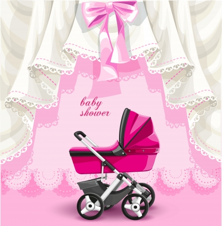 Pink baby shower card with baby carriage Vector