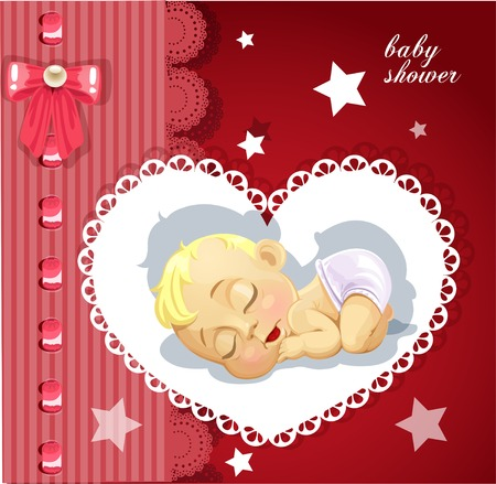 baby arrival: Red baby shower card with cute baby Illustration