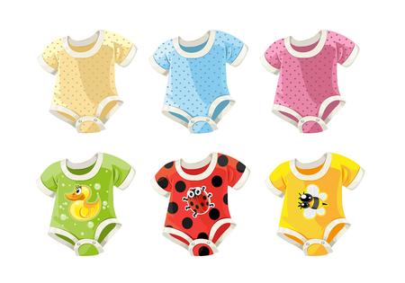 cute colorful costumes for babies with fun prints Vector